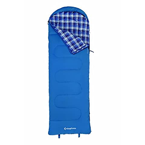KingCamp Oasis 250+ 3 Season Lightweight Durable Comfortable Envelop with Hood Single Layer Sleeping Bag For Camping Hiking Outdoor (Blue