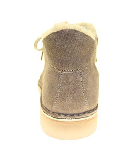 Damenstiefeletten Boots zum Schnüren ECHT LEDER Farbe Beige Beige/Braun