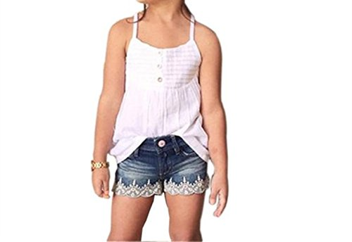 NING Summer Casual Kids Baby Girls Outfits Set Tank Top T-shirt Dress+Jeans Outfits Pants Clothes (0~9 years old ) (Size: 8-9Y)