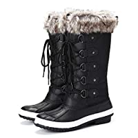 Camfosy Women Winter Snow Boots,Fur Lined Waterproof Warm Short Rain Booties Keep Warm Lace Up Mid Calf Sporty Sneakers Outdoor Ankle Casual Walking, 5 UK Wide, Black