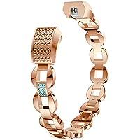 Bracelets de remplacement en métal argenté, rose, doré avec strass pour Fitbit Alta HR et Fitbit Alta / bracelet / bijou en acier inoxydable