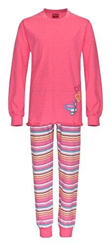 Toller Mädchen Pyjama langarm mit Bündchen Schmetterling Motiv - 161 401 90 820, Farbe:pink;Größe:152 (Pyjamas Schmetterling)