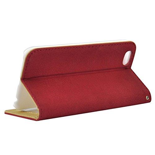 Wkae Case & Cover frotte - kaka étui en cuir avec des sens horizontal de bandes de caoutchouc &cardsolts &holderfor iphone 6 &6s ( Color : Red ) rot