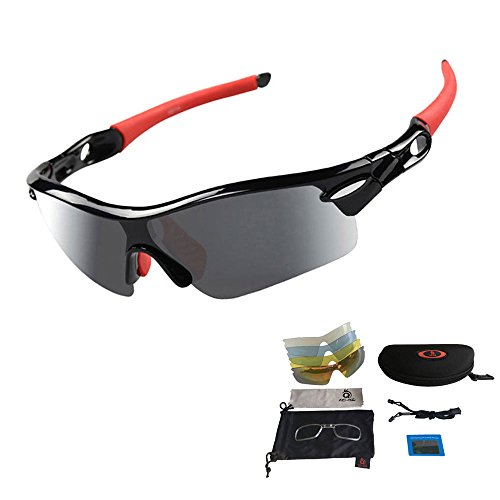 Cycling Sunglasses, Outdoor Sports Polarized Glasses with 5 Interchangable Lenses, Unisex Lightweight UV Protection Eyewear (Red)