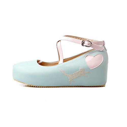 VogueZone009 Damen Rund Zehe Mittler Absatz Gemischte Farbe Schnalle Pumps Schuhe Blau