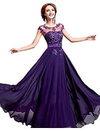Gorgeous Bride Gorgeous Bride Modisch Rundkragen A-Linie Chiffon Spitze Lang Abendkleid Promkleid Abendmode