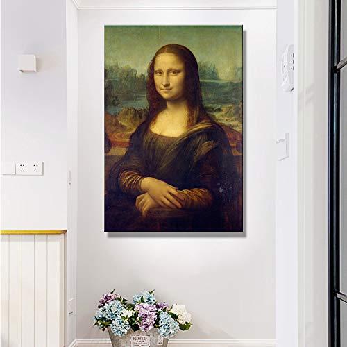 mmwin Italien Berühmten Maler Leonardo Da Vinci Mona Lisa Poster Druck auf Leinwand Wandkunst Leinwand Malerei für Wohnzimmer Wohnkultur Q 60X100 cm