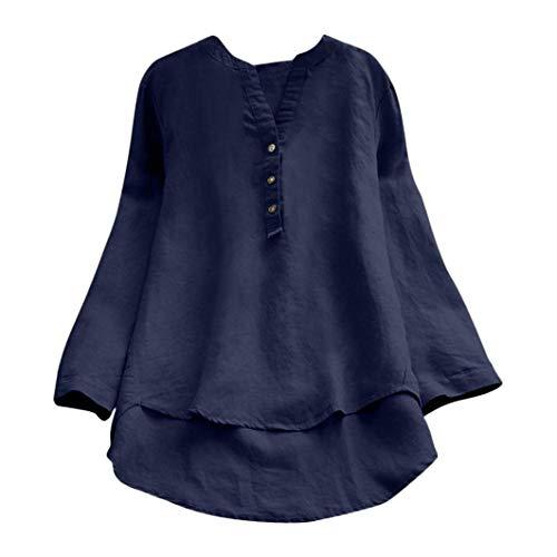 (Subfamily Frauen Retro Lange Ärmel lässige Lockere Taste Tops Bluse Mini-Shirt Bluse Tops V Ausschnitt Asymmetriesche Bluse Lässig Bluse Fashion Oberteile Sweatshirt Sommer Tops)