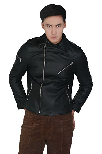 (Mersky Jacket Coat Cosplay Costume Black in PU Leather Fashion for Men Custommade)