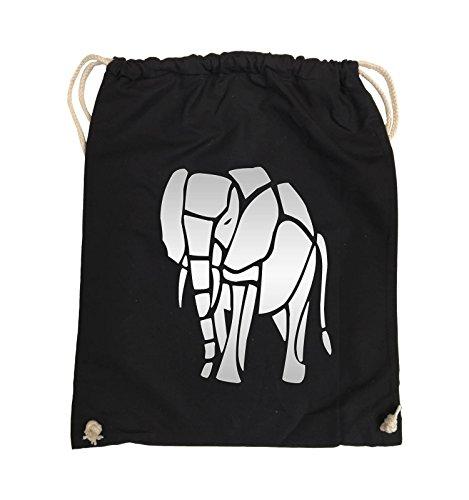 Comedy Bags - ELEFANT - Turnbeutel - 37x46cm - Farbe: Schwarz / Silber Schwarz / Silber