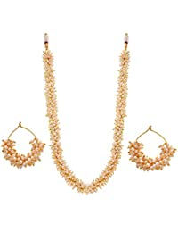 BFC-Traditional Ethnic One Gram Gold Plated Pearl Designer Long Necklace Set With Pearl Bali Earrings For Women...