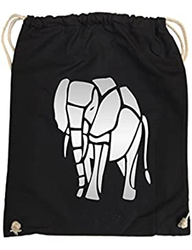 Comedy Bags - ELEFANT – hipster Turnbeutel, bedruckter Gymbag aus 100 % Baumwolle mit robuster Kordel, praktischer...