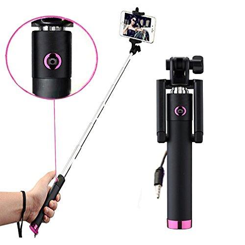 Microsoft Lumia 650 - Professional Mini Selfie Teleskop Stange Stick mit integriertem Selbstauslöser - Pink