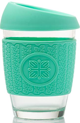 FUNK MY WORLD Coffee Cup - Reusable Glass BPA Free Silicone Lid Travel Mug - Eco-Friendly Borosilicate Glass- Thickened 3D Thermal Sleeve - 12oz Barrister Friendly - TURQUOISE