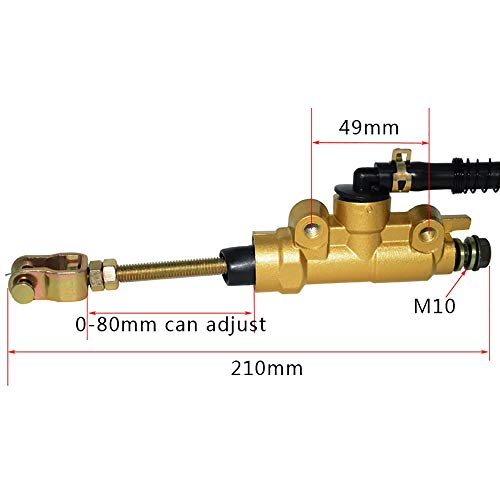 10mm Motorrad hinten Bremse hauptzylinderpumpe für Honda cr80 cr125 cr85 cr250 cr500 87-12 Motorrad ATV Dirt Box Von Hetai (Color : Gold) -