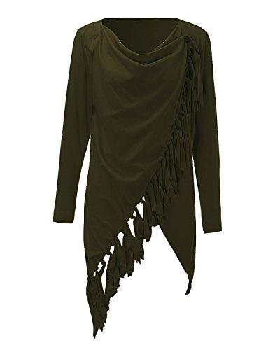 StyleDome Damen Langarm Dünne Quasten Asymmetrisch Jumper Sweatshirt Pullover StrickJacken Armeegrün