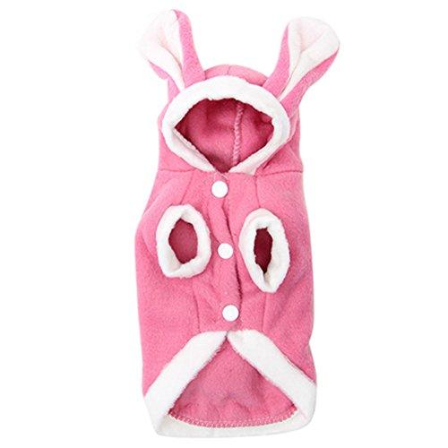 Friended Nettes Kaninchen Form Hundekostüm VliesHoodie Mantel Hundekleidung Haustier Versorgungsmaterialien (Rosa Piraten Pet Kostüme)