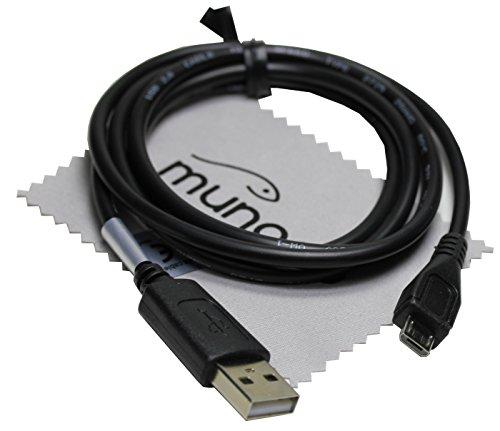USB Sync-Kabel, Ladekabel, Datenkabel 1m Schwarz für TOLINO Vision 4 HD, Page, Vision 3 HD, Shine 2 HD, Vision 2 und Vison E-Book-Reader + Gratis mungoo Displayputztuch