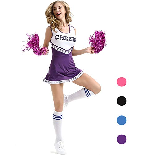 Cheerleader Kostüm Womens - AIZYR Cheerleader-Kostüm, Damen Cheerleader Kostüm Outfit Uniform Tank Top Petticoat mit Pompons,Purple,XS