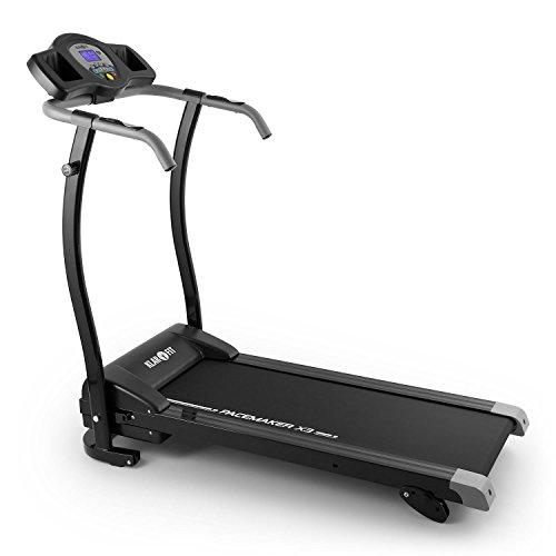 Klarfit Pacemaker X3 Laufband • Heimtrainer • Hometrainer • 1,5 PS • Geschwindigkeit: 0,8 - 12 km/h • Trainingscomputer • LCD-Display • 12 Programme • Pulsmesser • Neigungswinkel: 3 %, 5 % oder 7 % Gefälle • zusammenklappbar • schwarz-grau