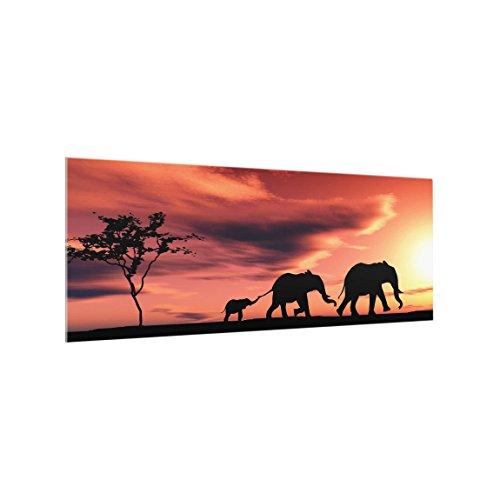 Bilderwelten Glass Splashback – Savannah Elephant Family – Panoramic, Backsplash Cooker Splashback Protector Panel Decorative Splashback Panel, Dimension HxW: 40cm x 100cm