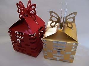 """10 x Medium Mélange doré& Rouge Nouvel An Chinois """"Happiness & Bonne Chance"""" Flat Packed Bijou Cadeau De Mariage Boites Cadeaux avec papillon Fermeture 8cmx8cmx14.5cm Posté de Londres par Fat-Catz"""