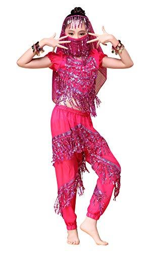 Kostüm Cherry Mädchen - Happy Cherry Mädchen Bauchtanz Köstüm Indianisch Halloween Karneval Kostüme Tanzkostüme 6 Stücke Anzug Ägypten Outfits-Rosa-M