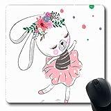 Tappetino per mouse Vestito Pittura Simpatico coniglietto Coniglietta Ballerina Danza Adorabile Carattere di compleanno Design per bambini Tappetino per mouse da gioco antiscivolo Tappetino in gomma