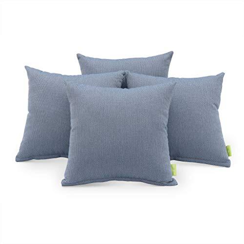 Lot de 4 Coussins de décoration d'extérieur – Carré, 40x40cm, pour mobilier de Jardin, Salon de Jardin 100% Oléfine (Bleu)