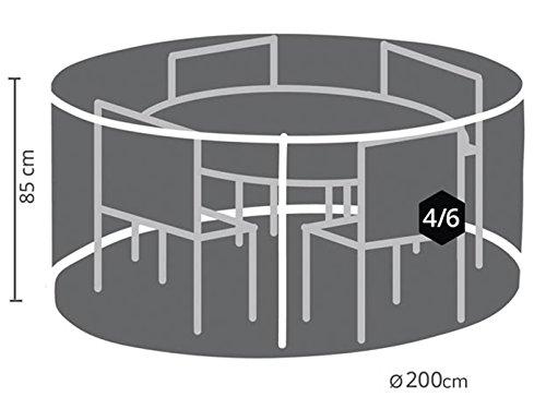 Perel Garden OCGS150 Schutzhülle Für Rundes Lounge-Set, Schwarz, 200 x 200 x 85 cm