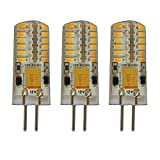 3x G4 LED 3 Watt Warmweiß Dimmbar 12V AC/DC (3 Stück) Wechselspannung mit 48x 3014 SMDs (Epistar) ~ 15W 330° Stiftsockel…