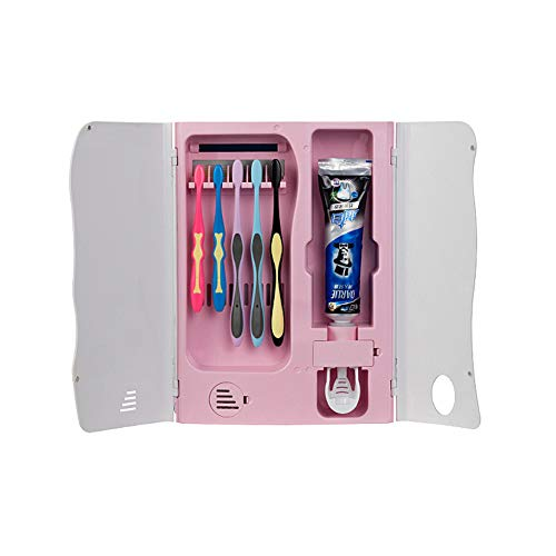 Z@SS Zahnbürste Sterilisatoren UV Sanitizer an der Wand Montiert Zahnbürsten-Halter mit Zahnpastaspender,Pink