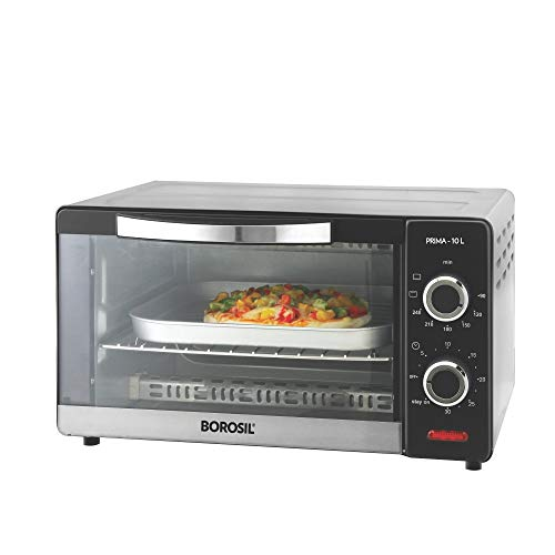 Borosil Prima Stainless Steel 10L 1000W Convection Oven Toaster Griller, Shiny Silver Body