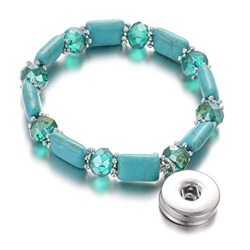 DLIAAN Armband Mode Druckknopf Charme Armband Armband Naturstein Perlen Elegante Grüne Elastische Perlen Snap Armband Für Frauen Männer Paar Armbänder -