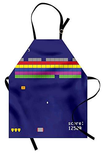 Vintage Schürze, spielerisch Arcade Design mit bunten quadratischen Formen Super Mario Funny moderne Grafik, Unisex-Küche Latzschürze mit verstellbarem Hals zum Kochen Backen Gartenarbeit, ()