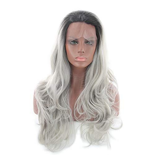 (Hochwertige Lockige Synthetische Perücke Haar Perücken Grau)