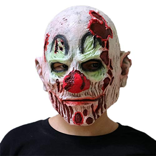 GXDHOME Latex Kopf Maske, Teufel Geist Zombie Halloween Kostüm Horror Scary Dämon Maskerade Bloody Creepy Kostüm