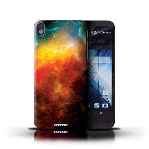 Kobalt® Imprimé Etui / Coque pour HTC Desire 816 / Éclipse Bleu conception / Série Cosmos Nébuleuse Orange