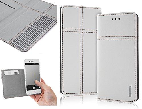 Bralexx Universal Slim Bookstyle-Tasche Hülle Case Cover mit Kartenfach, bequeme Foto-Funktion (4,8 - 5,0 Zoll max. 146 x 73 x 10 mm, Weiß)