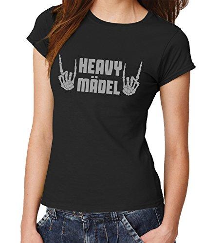 clothinx - Heavy Mädel - Girls T-Shirt Schwarz, Größe S -