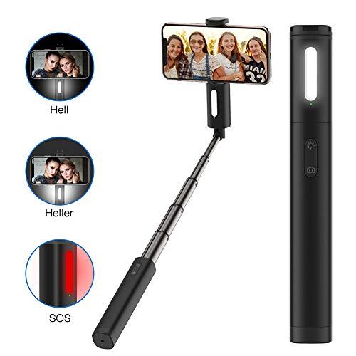 """Yoozon Bluetooth Selfie Stick mit Licht(2 Heilligkeiten in Weiß/SOS Leuchte)und eingebauter Fernbedienung,Aluminium Mini Selfiestick,Selfie Stange Monopod für alle 3,5-6,5\"""" Androind iPhone Smartphones"""