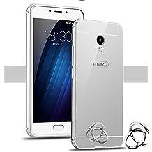 PREVOA Meizu M5 Note - Metal Bumper Frame Funda + Back Plastic Cover Case para Meizu M5 Note - Smartphone 5,5 pulgadas - Plata