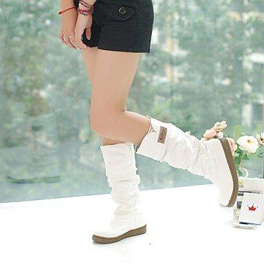 Damen Stiefel Herbst Winter Komfort Kunstleder Kleid Lässige flache Ferse Gürtelschnalle Walking, Weiß, US6.5-7 / EU37 / (Flag Kleid Womens)