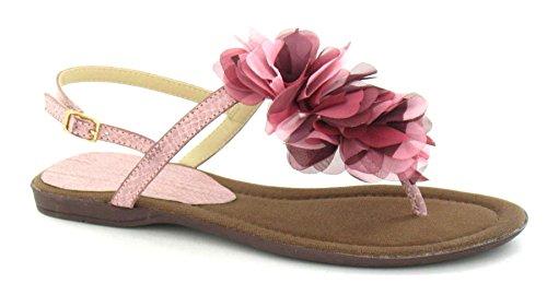 Increspato Fiore Colore Piatta Zona Sul Sandalo Toepost Bordo Rosa WEIqBq