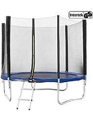 Arebos Outdoor Trampolin Komplettset ⌀ 244, 305, 366, 427 cm/Inklusive Sicherheitsnetz, Leiter, Sprungmatte, gepolsterten Netzpfosten und Randabdeckung/GS geprüft