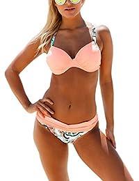 6a1763aa230 Asvivid Women s Bikini Swimwear 2 Psc Push Up Padded Gather with Color  Block Swimsuit Sets Size