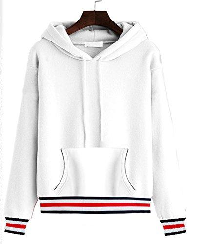 Pullover Automne- Hiver Hoodie Sweat-shirt Tops Printemps Automne Femme Chic Sweats à Capuche Sweater uni Manche Longue Blousons Blanc