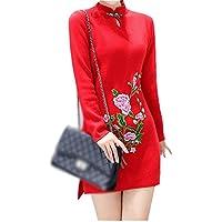 ALUK- Stile cinese - Maglione basa la camicia spessa Autunno Inverno Cheongsam vestito dal maglione a manica lunga ( colore : Rosso , dimensioni : M )