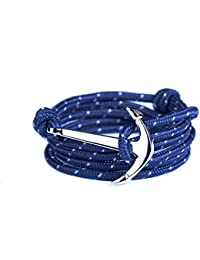 Yiran® White Gold Plated Fish Hook Sailor Anchor Clasp Bracelet on Colorful Nylon Ropes