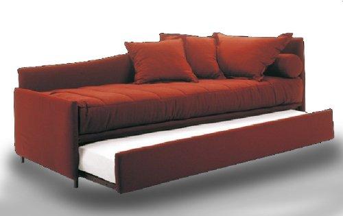 Ponti divani sun letto singolo con letto estraibile tessuto rete a doghe larghe e materasso - Divani letto con doghe ...